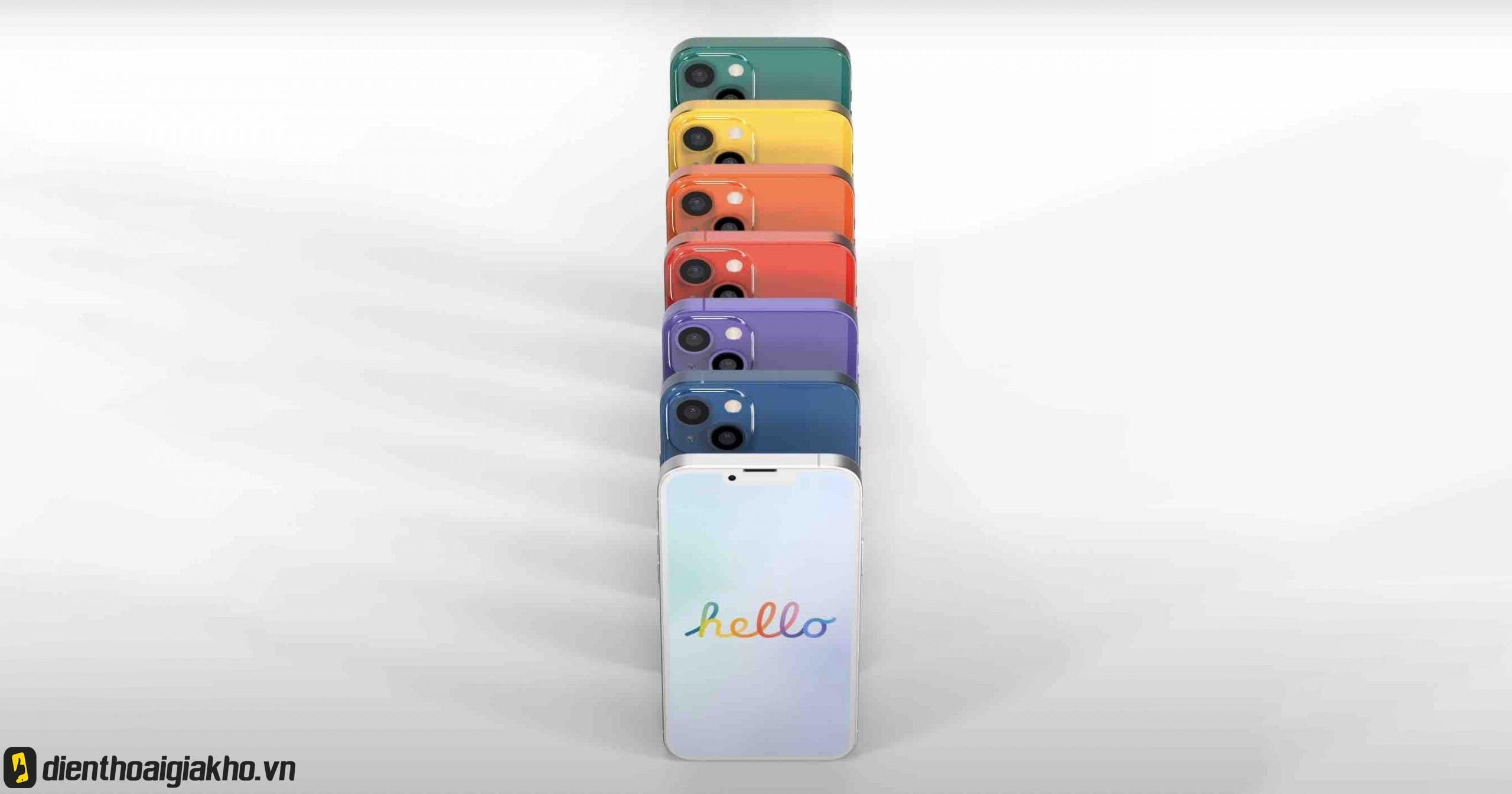 Phiên bản iphone 13 mới, vẫn giữ các màu ở phiên bản màu iphone 12.